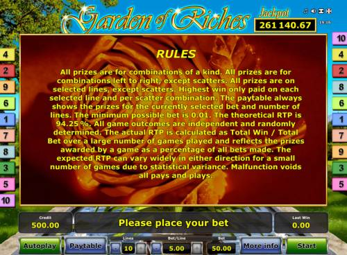 Garden of Riches Review Slots General Game Rules