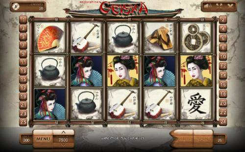 Geisha Review Slots Main game board featuring five reels and 25 paylines with a $300,000 max payout