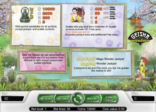 Geisha Wonders Review Slots wild, scatter and jackpot game rules with pays