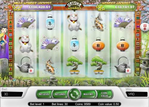 Geisha Wonders Review Slots the free spins featre paid out a total of 490 coins for a big win