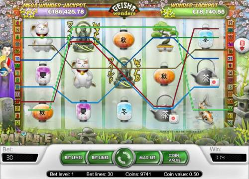 Geisha Wonders Review Slots a pair of wild symbols triggers multiple winning paylines for a 114 coin jackpot