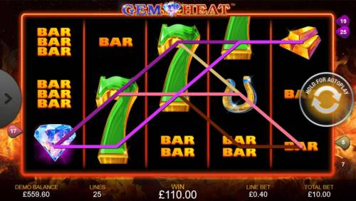Gem Heat Review Slots A 110.00 big win triggered by multiple wiining paylines