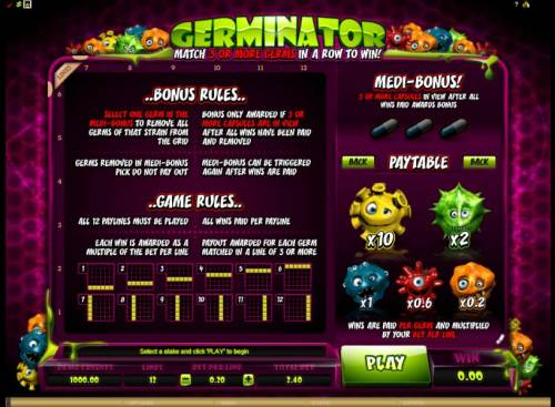 Germinator Review Slots Bonus rules, game rules and paytable