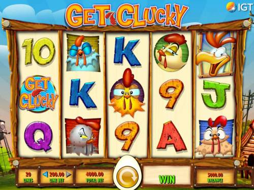 Get Clucky Review Slots Main game board featuring five reels and 20 paylines with a $250,000 max payout.