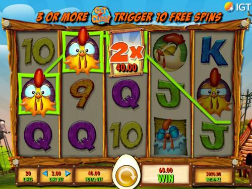 Get Clucky Review Slots Wild multiplier doubles the winning three of a kind payout.