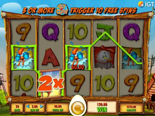 Get Clucky Review Slots A 120.00 jackpot triggered by a winning three of a kind.