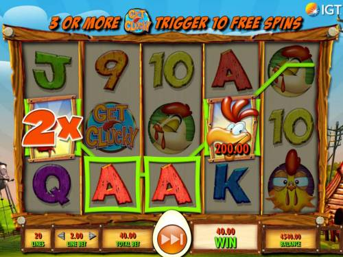 Get Clucky Review Slots A 200.00 line win triggered by a four of a kind