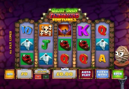 Ghost Train Fairground Fortunes Review Slots Main game board featuring five reels and 20 paylines with a $2,000 max payout.