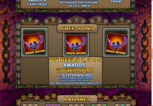 Ghost Train Fairground Fortunes Review Slots # bat free spins symbols anywhere on reels 1, 3 and 5 triggers free spins feature.