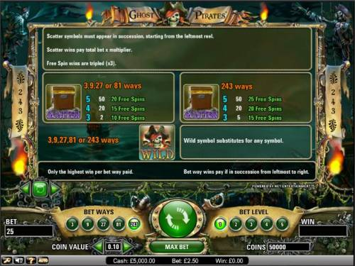 Ghost Pirates Review Slots Ghost Pirates slot game scatter and wild payout table