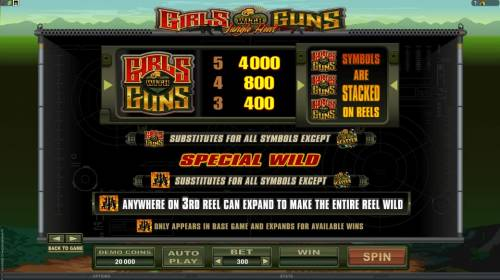 Girls with Guns - Jungle Heat Review Slots wild symbol payout table offering a 5000x max payout