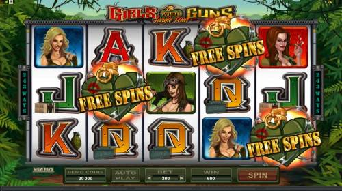 Girls with Guns - Jungle Heat Review Slots three scatter symbols trigger 15 free spins