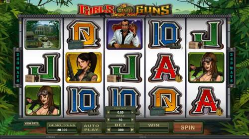 Girls with Guns - Jungle Heat Review Slots Main game board featuring 5 reels and 243 ways to win