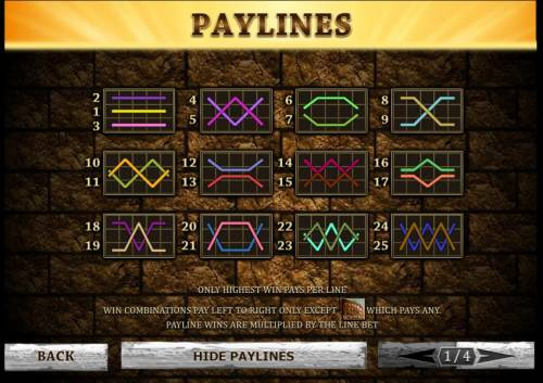 Gladiator Review Slots 25 paylines - layout configurations