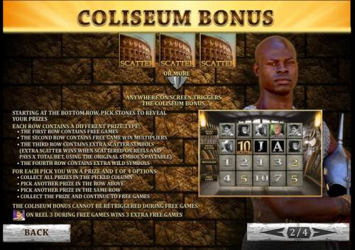 Gladiator Review Slots three or more scatter symbols anywhere on screen triggers the coliseum bonus