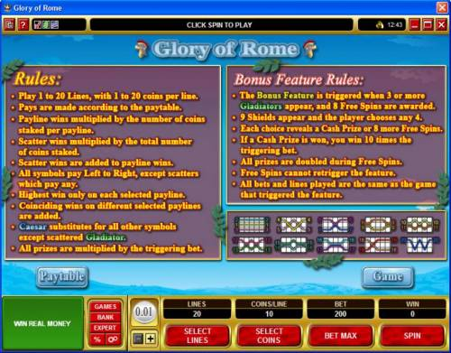 Glory of Rome Review Slots