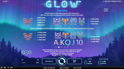 Glow Review Slots Free Spins - Bet line wins in free spins pay the win amount x3. Bet line wins with matching animal symbols award free spins.