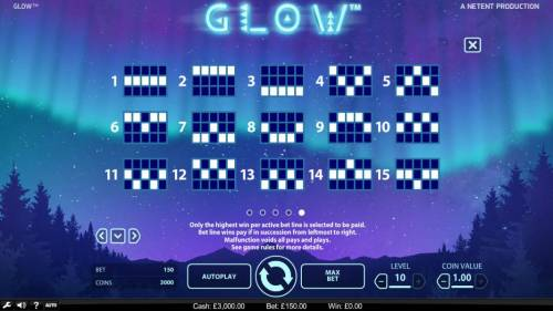 Glow Review Slots Payline Diagrams 1-15