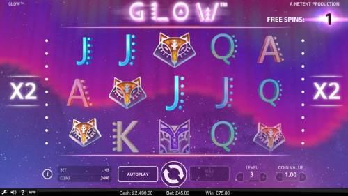 Glow Review Slots Free Spins game board