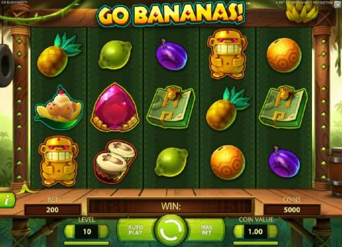 Go Bananas Review Slots Main game board featuring five reels, 20 paylines and a $7,000 max payout
