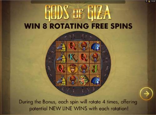 Gods of Giza Review Slots win 8 rotating free spins during the bonus, each spin will rotate 4 times, offering potential new line wins with each rotation!