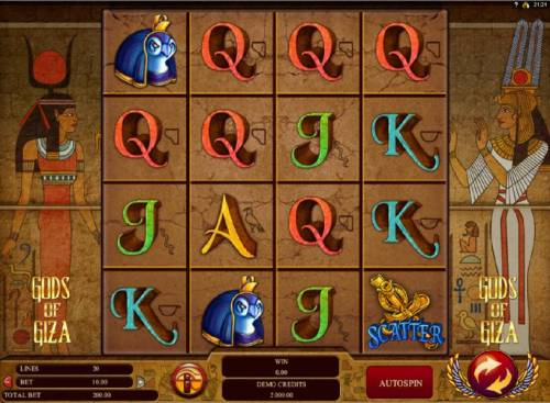 Gods of Giza Review Slots Main game board featuring five reels and 20 paylines with a $2,500 max payout