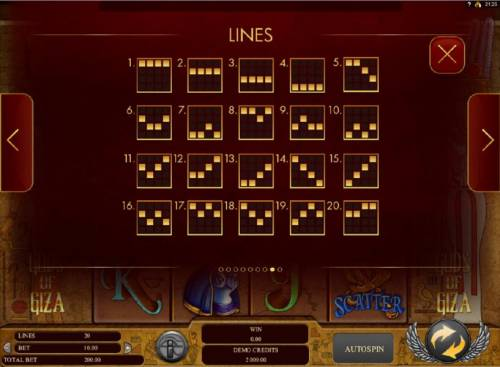 Gods of Giza Review Slots Payline Diagrams 1-20