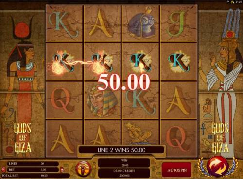 Gods of Giza Review Slots Multiple winning paylines triggers a 120.00 big win!