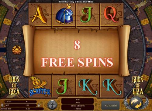 Gods of Giza Review Slots 8 free spins awarded.