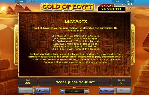 Gold of Egypt Review Slots Jackpot Feature Rules