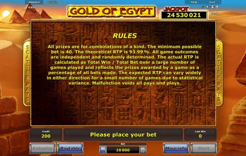 Gold of Egypt Review Slots General Game Rules