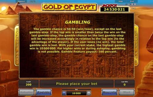 Gold of Egypt Review Slots Gambling Feature Rules