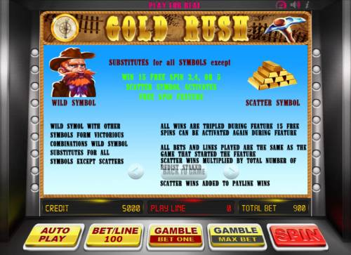 Gold Rush Review Slots Wild and Scatter Symbol Rules