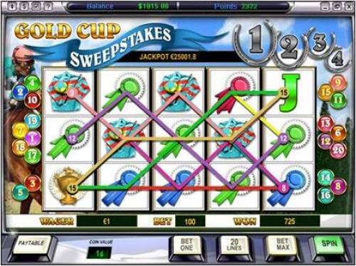 Gold Cup Review Slots main game board featuring five reels and twenty paylines