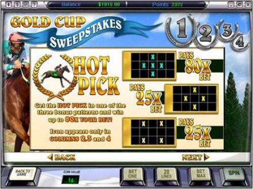 Gold Cup Review Slots how to play the hot pick bonus feature