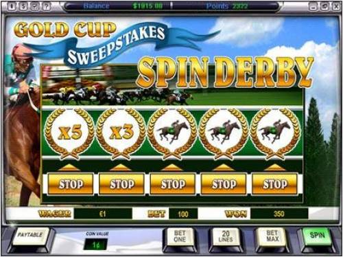 Gold Cup Review Slots spin derby bonus feature game board