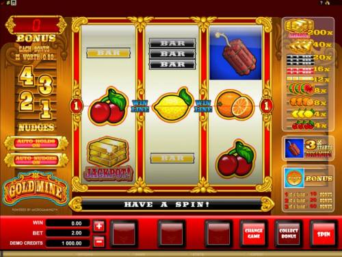 Gold Mine Review Slots main game board featuring 3 reels and one pay line