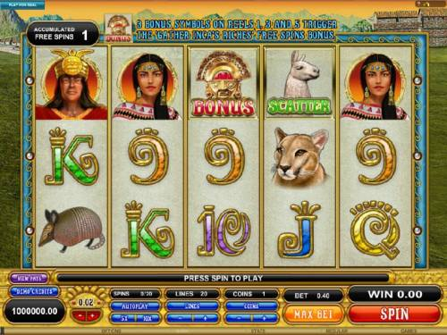 Gold Of Machu Picchu Review Slots main game board featuring five reels and twenty paylines