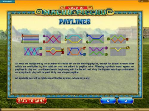 Gold Of Machu Picchu Review Slots payline diagrams