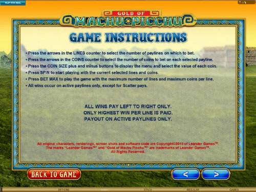 Gold Of Machu Picchu Review Slots general game instructions