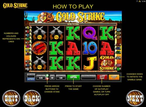 Gold Strike Review Slots Gameboard features and How to Play.