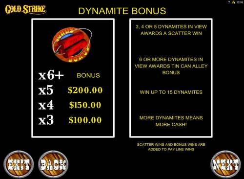 Gold Strike Review Slots Dynamite Bonus Rules - 3, 4 or 5 dynamites in view award a scatter win. 6 or more dynamites in view awards Tin Can Alley Bonus.