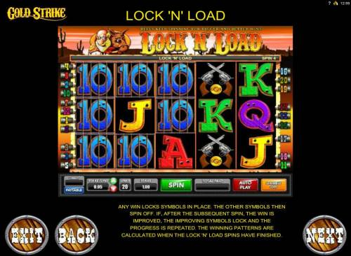 Gold Strike Review Slots Lock N Load Feature - Any win locks symbols in place. The other symbols then spin off