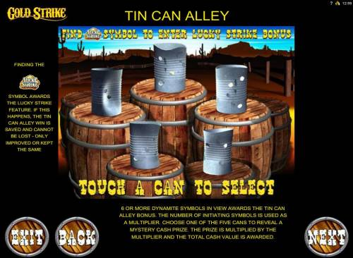 Gold Strike Review Slots Tin Can Alley Bonus Feature Rules
