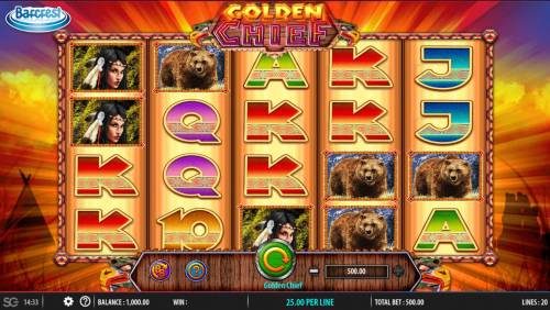 Golden Chief Review Slots Main game board featuring five reels and 100 paylines with a $250,000 max payout.
