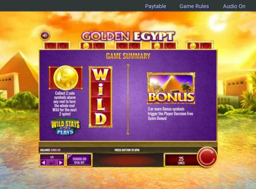 Golden Egypt Review Slots Wild and Scatter Symbols Rules and Pays