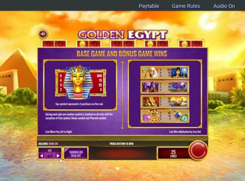 Golden Egypt Review Slots Paytable