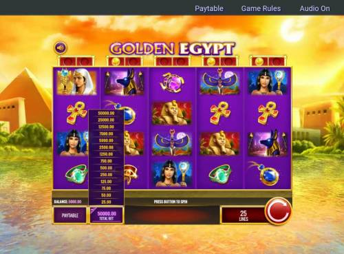 Golden Egypt Review Slots Betting Options