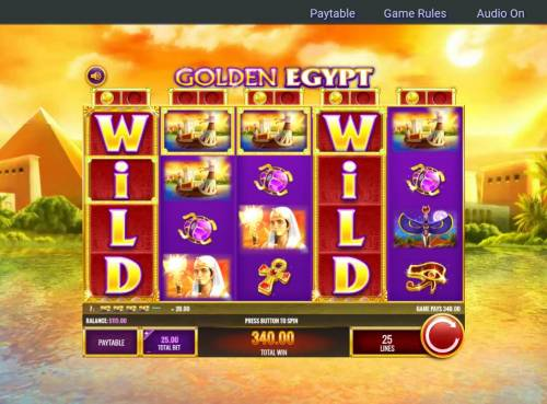 Golden Egypt Review Slots Multiple winning paylines triggers a big win!