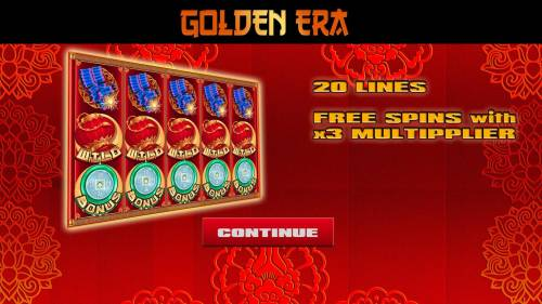 Golden Era Review Slots Game features include: 20 Lines and Free Spins with 3x Multiplier